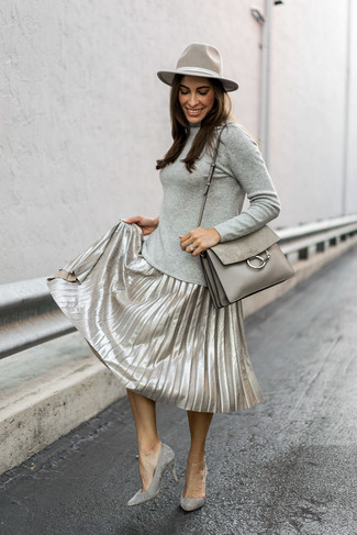How to wear: grey leather satchel bag, grey suede pumps, silver pleated midi skirt, grey turtleneck