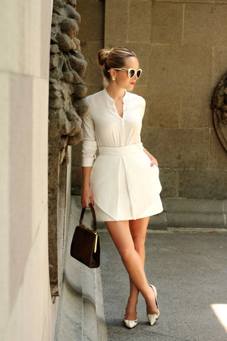 How to wear: dark brown suede clutch, beige snake leather pumps, white mini skirt, white button down blouse