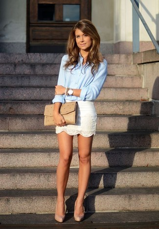 How to wear: tan leather clutch, beige leather pumps, white lace mini skirt, light blue dress shirt