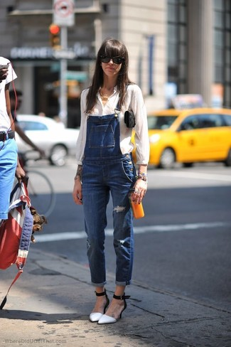 How to wear: black suede clutch, white and black leather pumps, blue denim overalls, white button down blouse