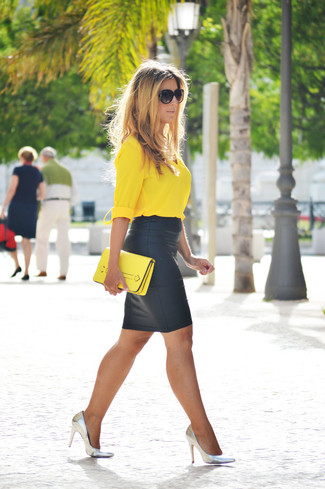 How to wear: yellow leather clutch, silver leather pumps, black leather pencil skirt, yellow button down blouse