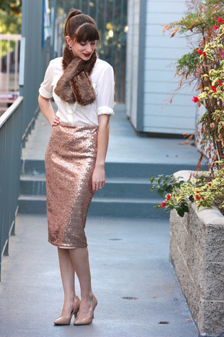 How to wear: brown fur scarf, beige leather pumps, pink sequin pencil skirt, white button down blouse