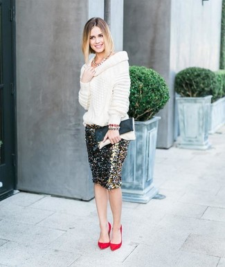 How to wear: black and white leather clutch, red suede pumps, black and gold sequin pencil skirt, white cowl-neck sweater