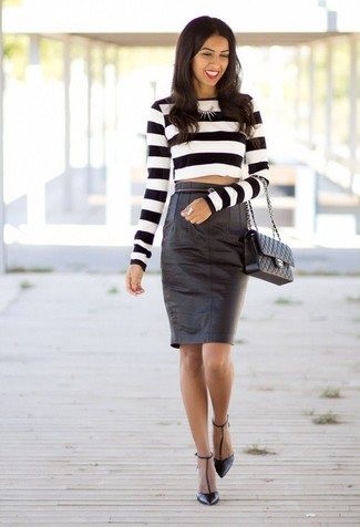 How to wear: black quilted leather satchel bag, black leather pumps, black leather pencil skirt, white and black horizontal striped cropped sweater