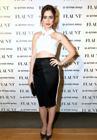 How to wear: black leather clutch, black studded leather pumps, black pencil skirt, white cropped top