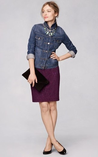 How to wear: black suede clutch, black leather pumps, dark purple lace pencil skirt, navy denim jacket
