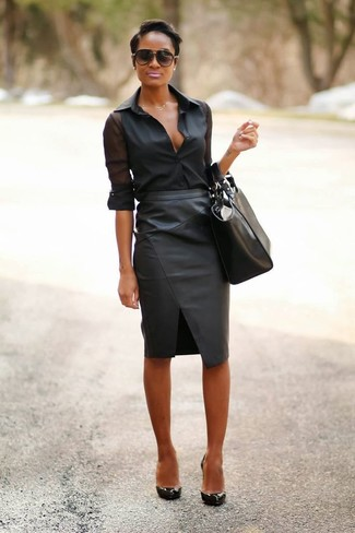 How to wear: black leather tote bag, black leather pumps, black leather pencil skirt, black chiffon dress shirt