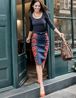 How to wear: brown leopard leather tote bag, orange suede pumps, navy floral pencil skirt, black long sleeve t-shirt