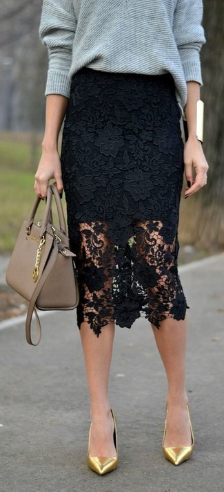 How to wear: tan leather satchel bag, gold leather pumps, black lace pencil skirt, grey oversized sweater