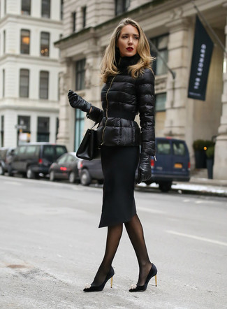 How to wear: black leather clutch, black embellished satin pumps, black pencil skirt, black puffer jacket