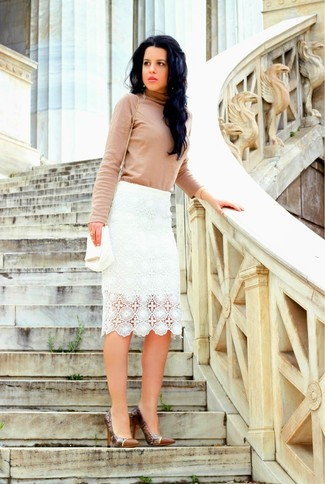 How to wear: white leather crossbody bag, brown snake leather pumps, white lace pencil skirt, beige turtleneck