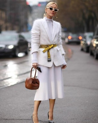 How to wear: brown leather clutch, silver sequin pumps, white knit sheath dress, white mohair cardigan