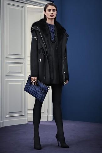 How to wear: navy leather clutch, black suede pumps, black vertical striped shift dress, black wool parka