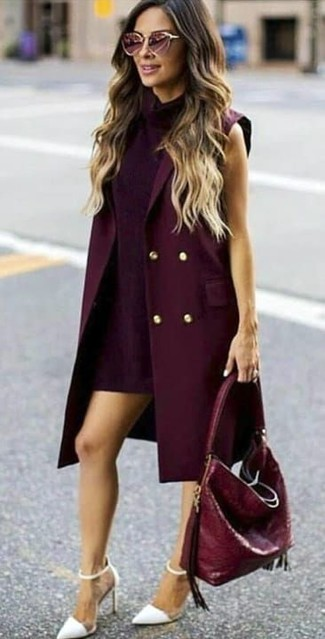 How to Wear a Burgundy Sleeveless Coat: A burgundy sleeveless coat and a dark purple shift dress will add extra style to your daily wardrobe. If in doubt about the footwear, complement your ensemble with a pair of white leather pumps.