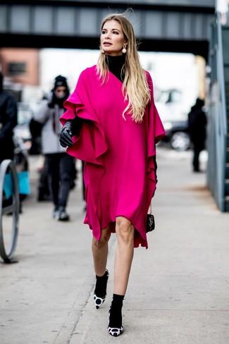 How to wear: black leather handbag, white and black polka dot suede pumps, hot pink ruffle shift dress, black turtleneck