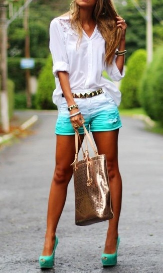 How to wear: gold leather tote bag, mint cutout suede pumps, mint denim shorts, white lace button down blouse
