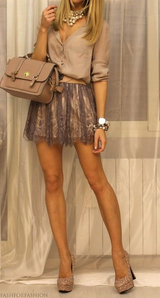 How to wear: beige leather satchel bag, gold embellished sequin pumps, brown lace skater skirt, beige button down blouse