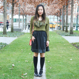 How to wear: black knee high socks, black leather pumps, black skater skirt, olive long sleeve blouse
