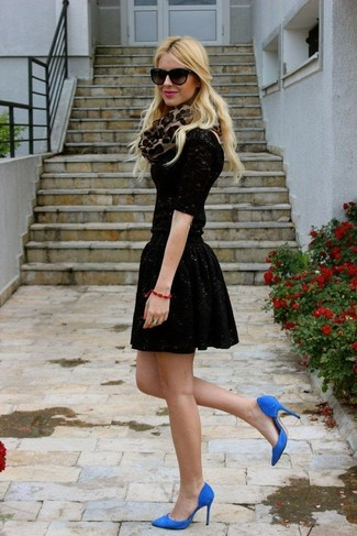 How to wear: tan leopard scarf, blue suede pumps, black sequin skater skirt, black lace long sleeve t-shirt