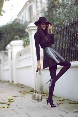 21f5e18ac Club L Embossed Leather Look Skater Skirt Black, £18 | Asos ...