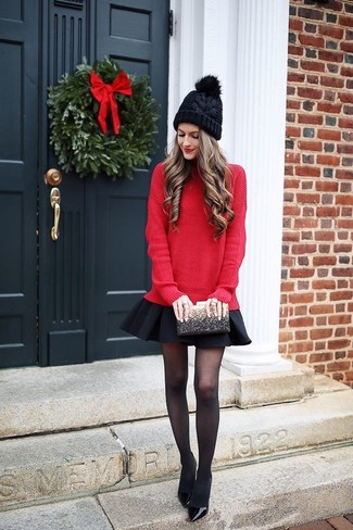 How to wear: black sequin clutch, black leather pumps, black skater skirt, red oversized sweater