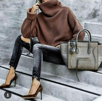 How to wear: grey snake leather tote bag, dark brown suede pumps, charcoal ripped skinny jeans, brown cowl-neck sweater