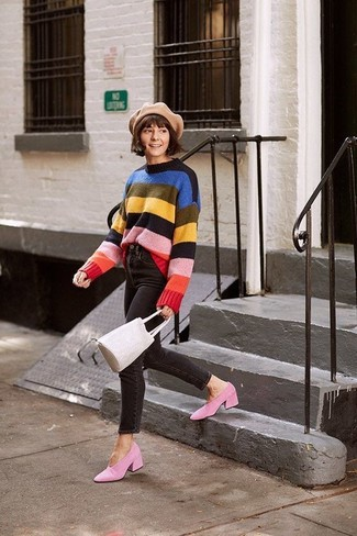 How to wear: beige leather bucket bag, pink suede pumps, black skinny jeans, multi colored horizontal striped crew-neck sweater