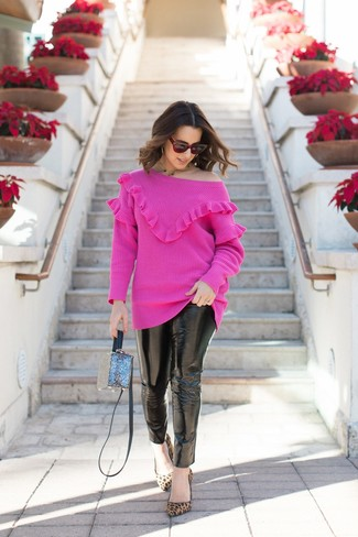 How to wear: blue crossbody bag, tan leopard suede pumps, black leather skinny jeans, hot pink crew-neck sweater