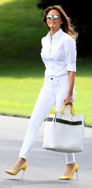 How to wear: white leather tote bag, yellow leather pumps, white skinny jeans, white dress shirt