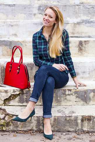 How to wear: red leather satchel bag, teal suede pumps, navy skinny jeans, teal plaid dress shirt