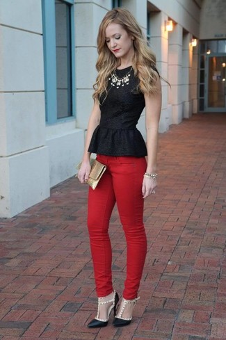 How to wear: gold leather clutch, black studded leather pumps, red skinny jeans, black peplum top