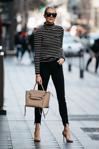 Women's Looks & Outfits: What To Wear In 2020: For a casual and cool ensemble, try teaming a black and white horizontal striped turtleneck with black skinny jeans — these items work pretty good together. Tan leather pumps will breathe a hint of sophistication into an otherwise everyday getup.