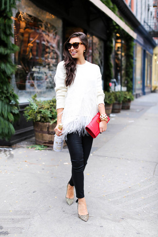 How to wear: red leather clutch, beige leopard leather pumps, black leather skinny pants, white feather crew-neck sweater
