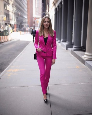 How to wear: black leather crossbody bag, black leather pumps, black sleeveless top, hot pink suit