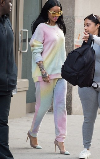 How to wear: yellow sunglasses, mint suede pumps, mint tie-dye sweatpants, mint tie-dye sweatshirt