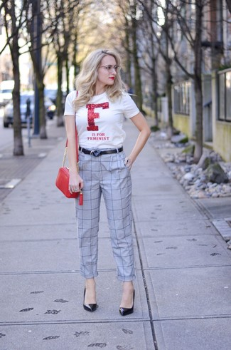 How to wear: red leather crossbody bag, black leather pumps, grey check tapered pants, white and red print crew-neck t-shirt