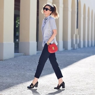 How to wear: red leather crossbody bag, black leather pumps, navy tapered pants, light blue short sleeve button down shirt