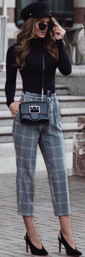 How to wear: black leather crossbody bag, black suede pumps, grey check tapered pants, black turtleneck