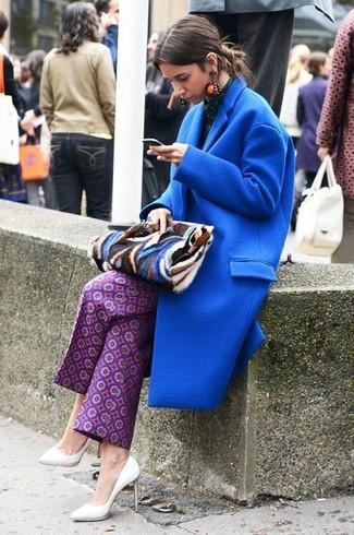 How to wear: blue print fur clutch, white leather pumps, purple print wide leg pants, blue coat