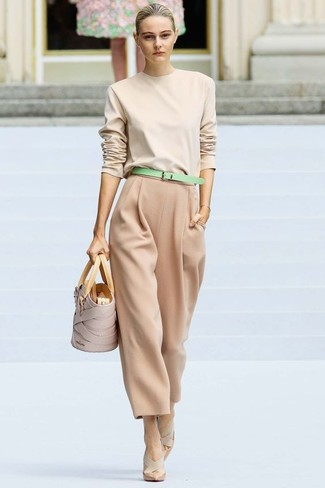 How to wear: beige leather tote bag, beige leather pumps, tan wide leg pants, beige crew-neck sweater