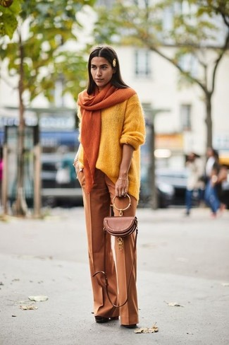 How to wear: brown leather crossbody bag, brown chunky suede pumps, tobacco wide leg pants, yellow oversized sweater