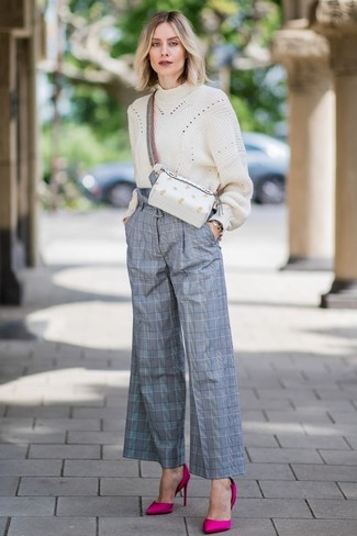 How to wear: white leather fanny pack, hot pink satin pumps, grey plaid wide leg pants, beige knit oversized sweater