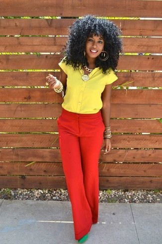 How to wear: gold bracelet, green suede pumps, red wide leg pants, yellow short sleeve button down shirt