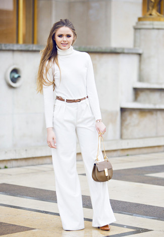 How to wear: brown leather satchel bag, tobacco leather pumps, white wide leg pants, white turtleneck