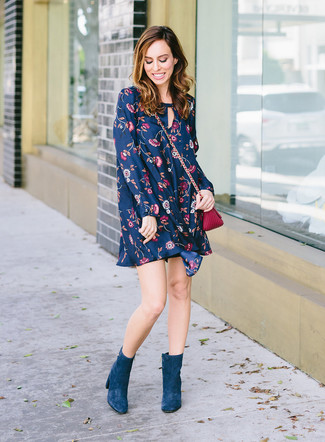 How to wear: purple leather crossbody bag, teal suede ankle boots, navy floral swing dress