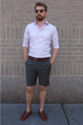 Purple long sleeve shirt grey shorts burgundy loafers large 34