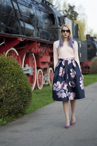 How to wear: black sunglasses, purple suede pumps, navy floral full skirt, pink crew-neck sweater