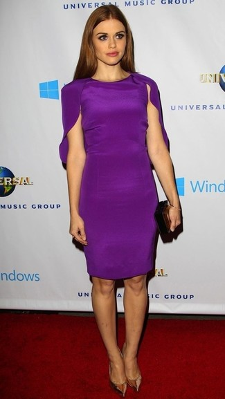 How to wear: purple sheath dress, gold leather pumps, black clutch