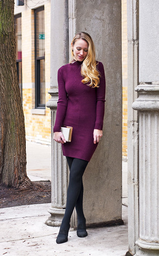 52b78e9a63 How to Wear a Light Violet Sweater Dress In Fall (3 looks   outfits ...