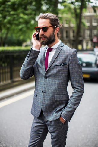 How to wear: dark green print pocket square, purple tie, white dress shirt, grey check suit